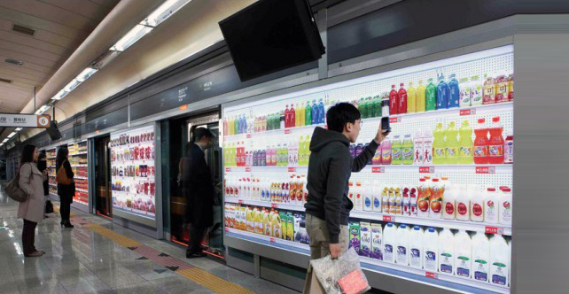 Shopping for groceries using QR codes
