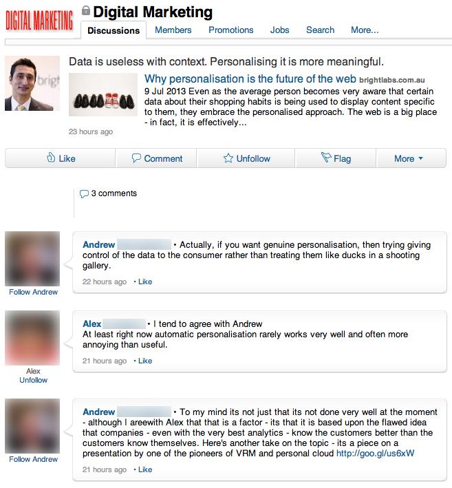 Conversation from LinkedIn