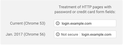 Old Versus New Security Message on Google Chrome